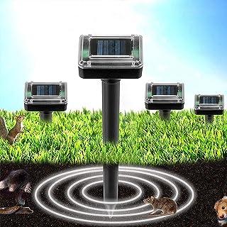 QingH yy 4 Pack Solar Powered Mole Repellent, Répeller des ravageurs, Gopher, Mole, Snake, Souris, Rodent Repellent pour l...