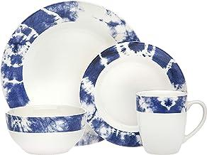 مجموعة أدوات الطعام تاي داي من جودينجر طبق للعشاء، طبق السلطة، وعاء الحساء - أزرق - خدمة من أربعة