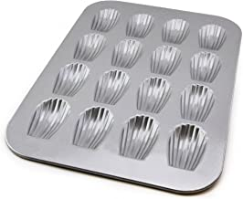 USA PAN 1297MD Bakeware Madeleine, Warp Resistant Nonstick Baking Pan, Made in The USA from Aluminized Steel, 16-Well, Silver