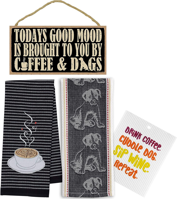 Coffee Towel Dog Tea Funny Dishcloth Decor New York Mall Sign Wood Spasm price