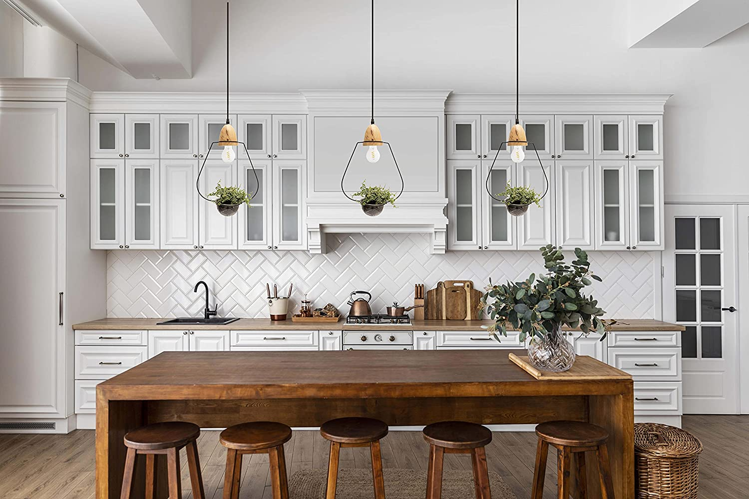 Pendant Light for Kitchen Island Dining Room Lighting Fixtures Hanging with  Plant Pot and Adjustable Wire up to 9