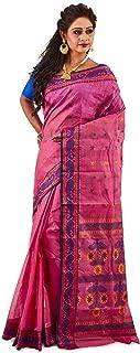 SareesofBengal Women's Jamdani Pink Cotton Handloom Tangail Bengal Tant Saree