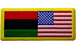 African American Africa and US United States Flag Combo Iron on Patch IVANP1266