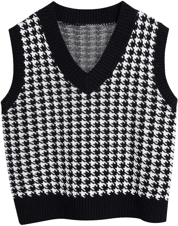 Sdencin Women Houndstooth Pattern Knit Sweater Vest Sleeveless Loose V-Neck 90s Waistcoat Pullover Knitwear Top