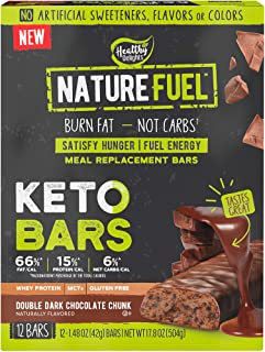 Nature Fuel Keto Bars Meal Replacement Bars with Whey Protein and MCTs, Burn Fat 7 Fuel Energy Double Dark Chocolate Chunk...
