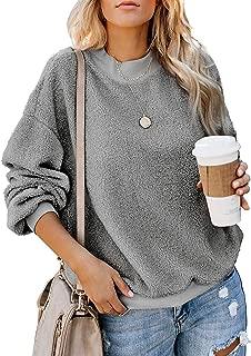 Womens Casual Loose Drop Shoulder Sweatshirt Fuzzy Crew Neck Long Sleeve Top Pullover Sweater