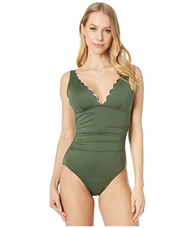 Kate Spade New York Scallop Wave Contrast Scalloped Plunge One-Piece (Olive) Women