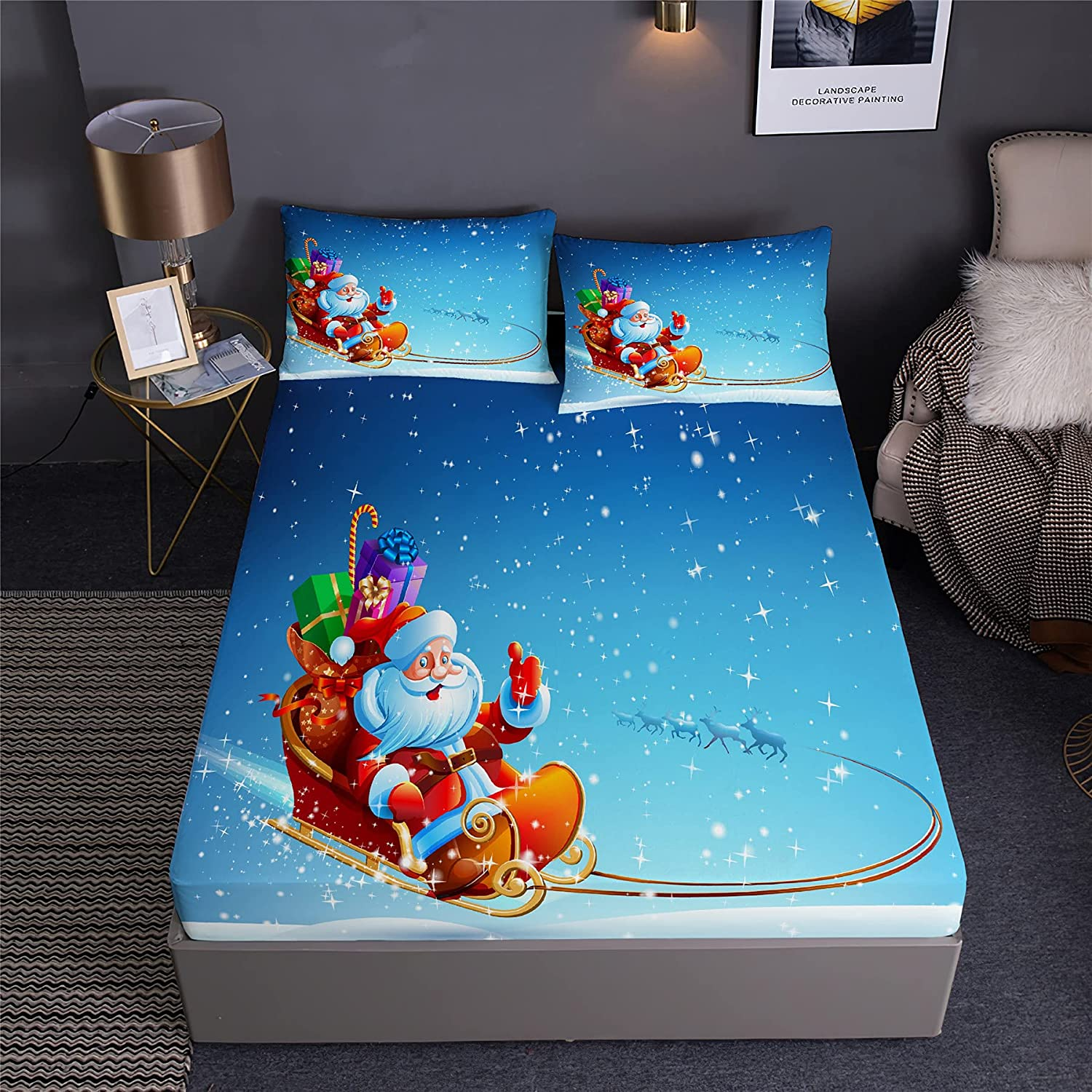 DDD PLUS Sledge Popular products Santa Challenge the lowest price Christmas Pillowshams Sheet with Fitted Tw