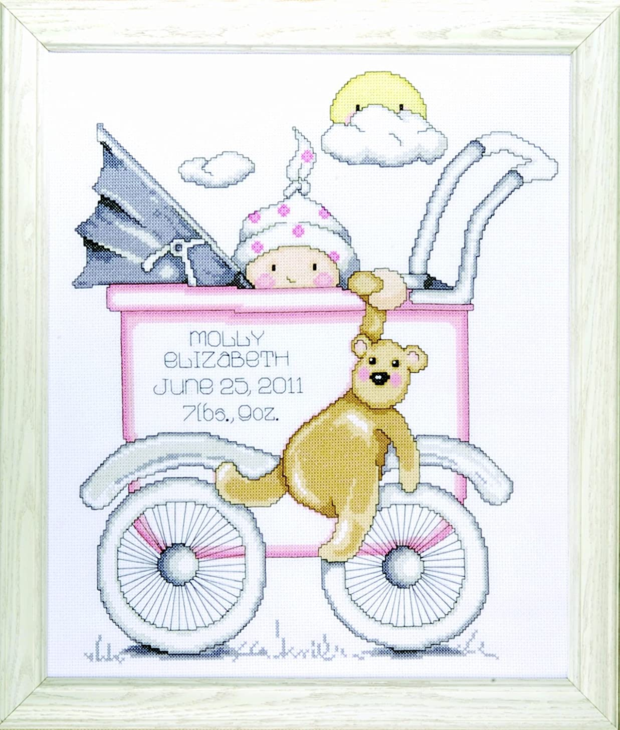 Tobin T21743 Baby Buggy Girl Birth Record Counted Cross Stitch Kit,