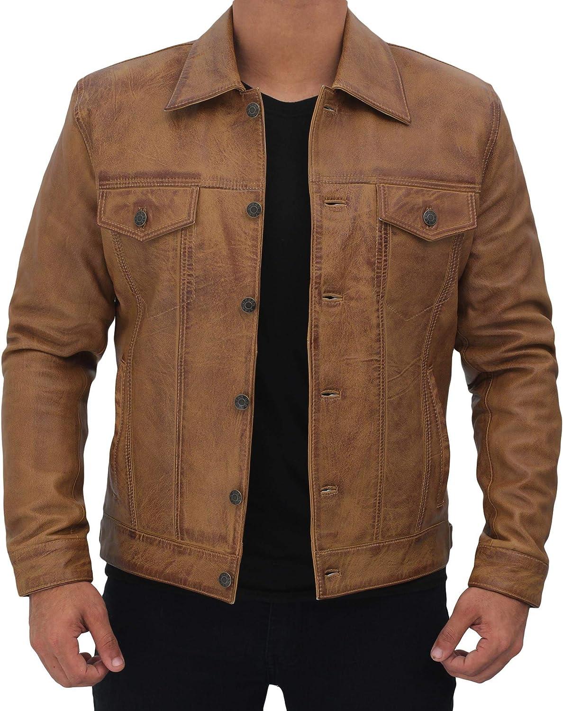Vintage Trucker Jacket Men - Real Lambskin Mens Leather Jackets