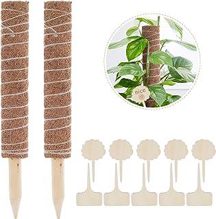 Lemecima 2 Stück 41CM Pflanzstab Kokos Rankstab Rankhilfe Blumenstab mit 10 Pflanzschilder für Pflanzenname Pflanzzeit Verlängerbar Kokosstab Stützpfahl Holz aus Natürlicher Kokosfaser zur Dekoration