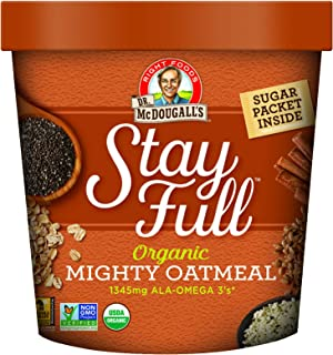 Dr. McDougall's Right Foods Stay Full Organic Mighty Oatmeal Superfood Hot Cereal, 2.6 Ounce (Pack of 6), Vegan, USDA Organic, Whole Grain, Non-GMO, Cups From Certified Sustainably-Managed Forests