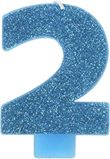 #2 Glitter Birthday Candle   Caribbean Blue   Party Supply