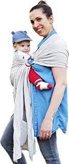 Designer Luxury Ring Sling Baby Carrier – Incredibly Soft Bamboo and Linen Fabric – Eco-Friendly – for Newborns, Infants and Toddlers – Ideal Baby Shower Gift – Nursing Cover – Holds up to 35lbs