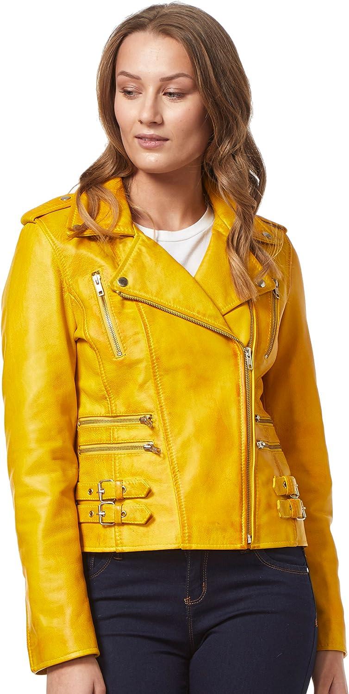 'Mystique' Yellow Ladies Motorcycle Biker Style Designer Nappa Leather Jacket 7113