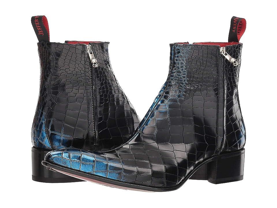 Jeffery-West Rochester Dodger Double Zip Boot (Blue/Silver Metallic Croc) Men