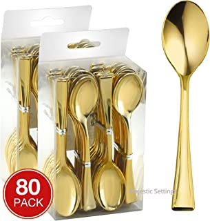 Majestic Settings Mini Collection Disposable Plastic Mini Spoons, Gold Plastic Tasting Spoons, 80 Count, 4 inch Spoons, Great for Desserts, Sampling, or Appetizers