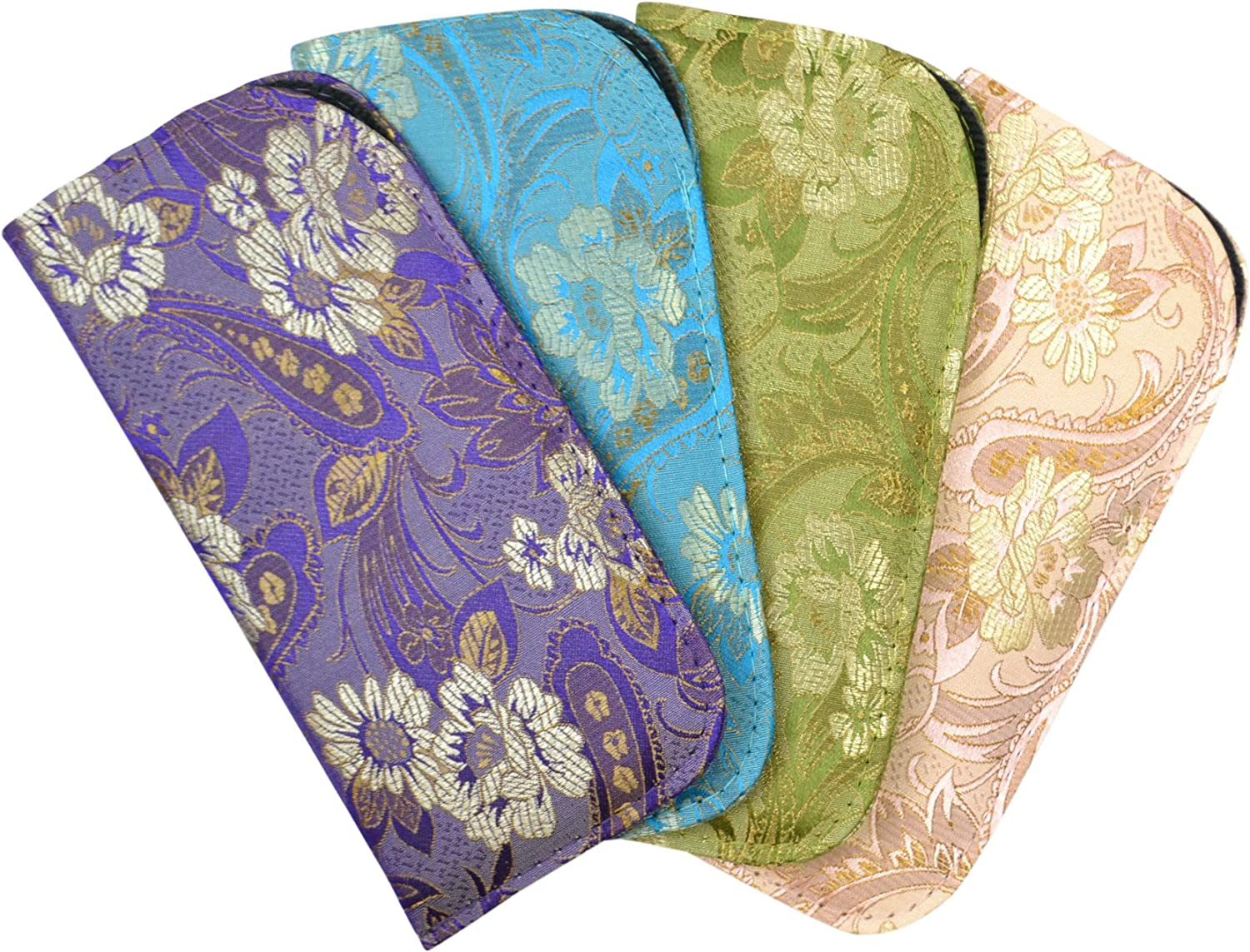 4 Pack Assortment Silk Brocade Style Asian Theme Slip Case Purple bluee Sage Pink