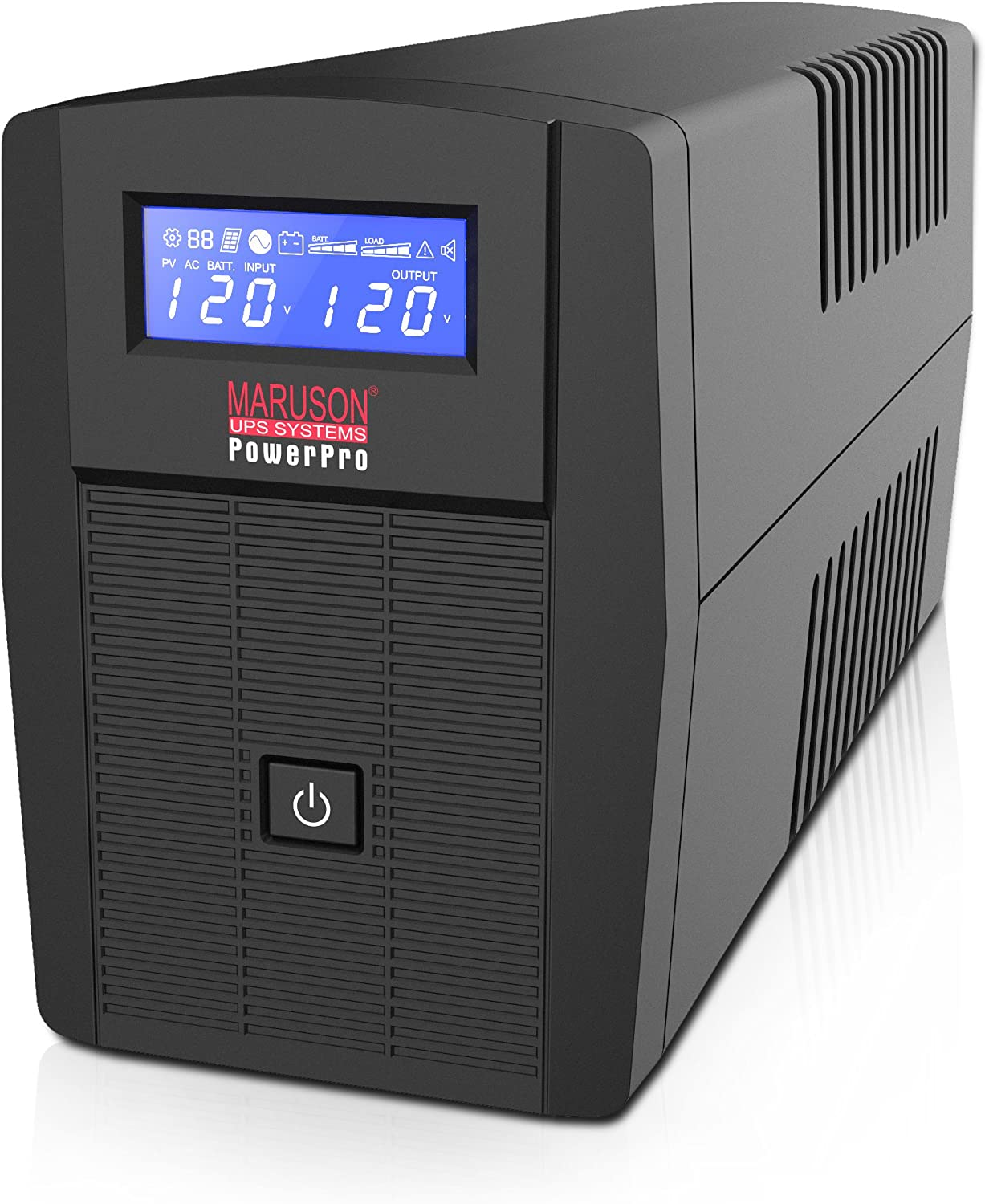 MARUSON 800VA UPS Battery Backup & Surge Protector, AVR, 735J Surge Protection, 6 Outlets, Line Interactive Uninterruptible Power Supply System, TUV Certified, PRO-800LCD Power Pro LCD 800VA / 450W