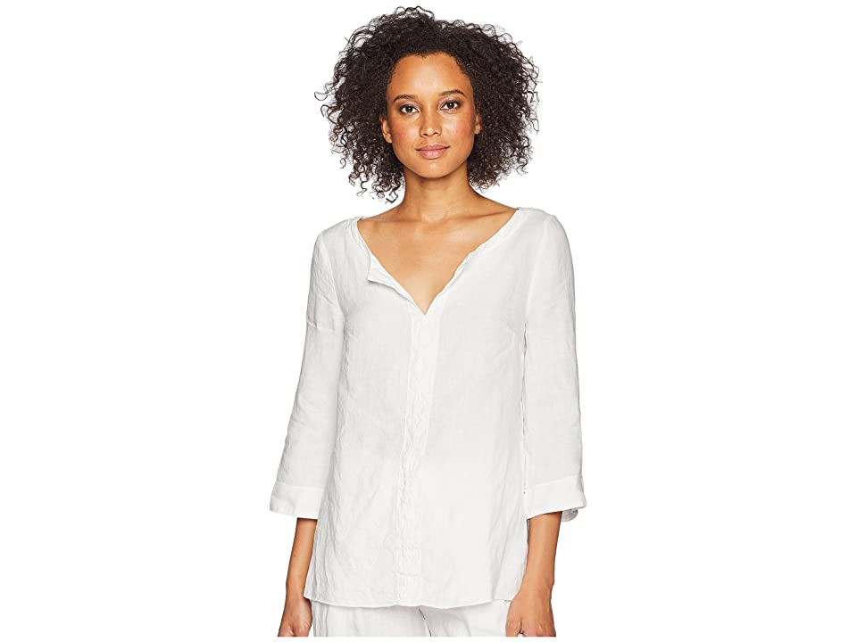 Three Dots Woven Linen Tunic (White) Women