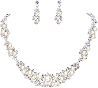 Clearine Women's Bohemian Crystal Cream Simulated Pearl Cluster Collar Necklace Dangle Earrings Set Clear Silver-Tone
