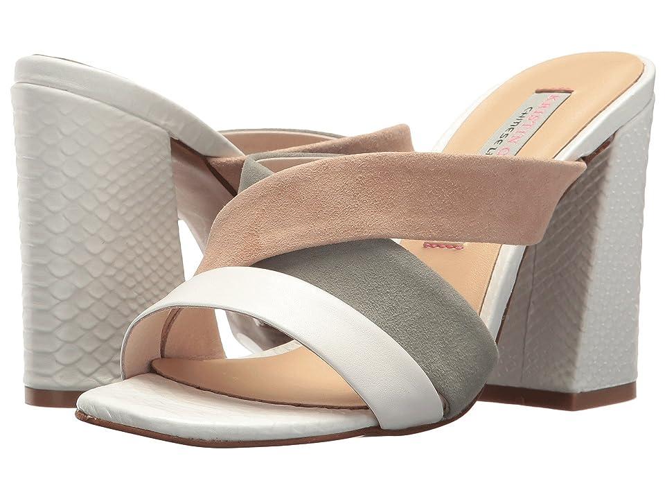 Kristin Cavallari Lola Slide Sandal (White/Sage/Tig Sheep Leather) High Heels