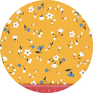 Ginger Yellow Gray Floral Cotton Fabric by Meters for Baby Kids Dresses Apron Decoration Curtain Bedding Sheet Sewing Cloth,1,160Cmx50Cm
