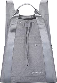 83641c8d6c25 HOKEMP Waterproof Drawstring Bag With Pockets Lightweight Backpack Gym Bag  Water Resistant Cinch Sack For Gym Shopping Sport Yoga (Gray)