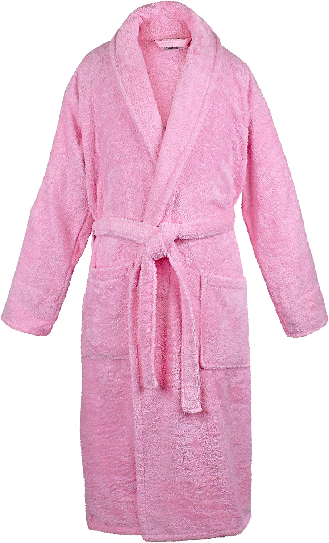 BC BARE COTTON 100% Turkish Cotton Women Terry Shawl Robe, One Size, Pink