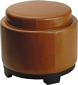 Safavieh Hudson Collection Chloe Leather Single Tray Round Storage Ottoman, Saddle