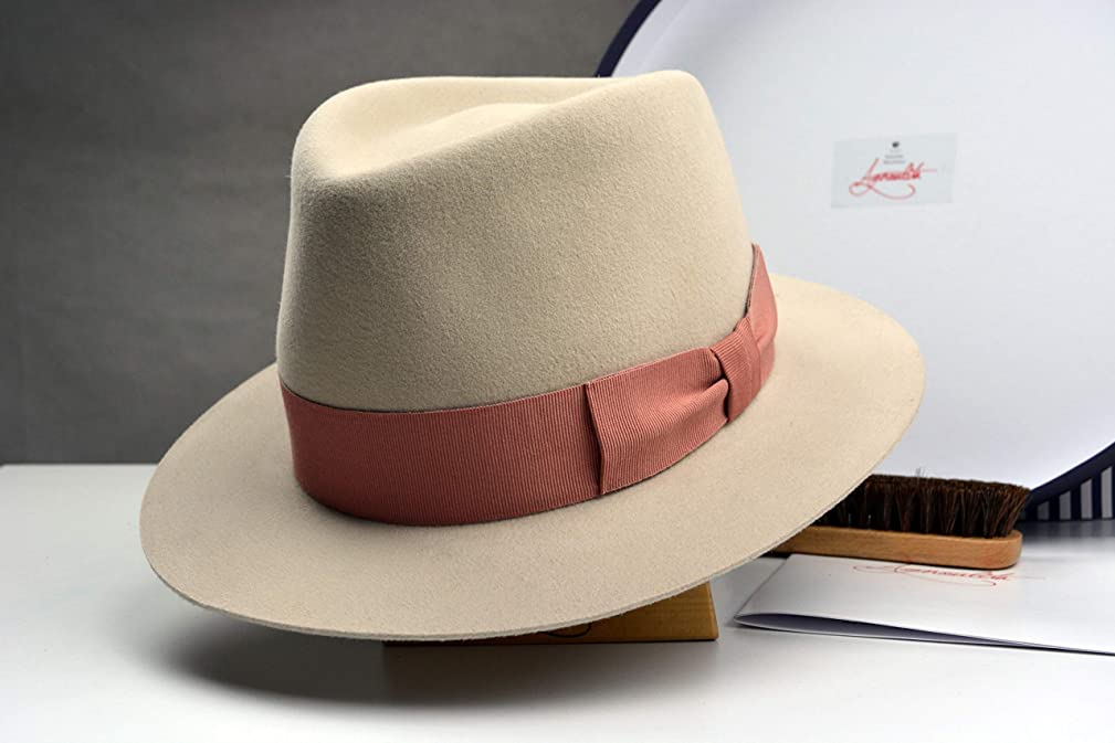 The Mikey Best - Rabbit Fur Felt Suede Fedora Hat - Medium Brim - Men Women