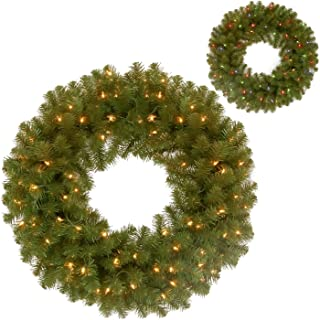 National Tree 24 Inch North Valley Spruce Wreath with 50 Battery Operated Dual Color LED Lights (NRV7-300D-24WB1)