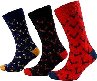 Viyella 3 Pair Pack Mens Antlers Design Wool Socks