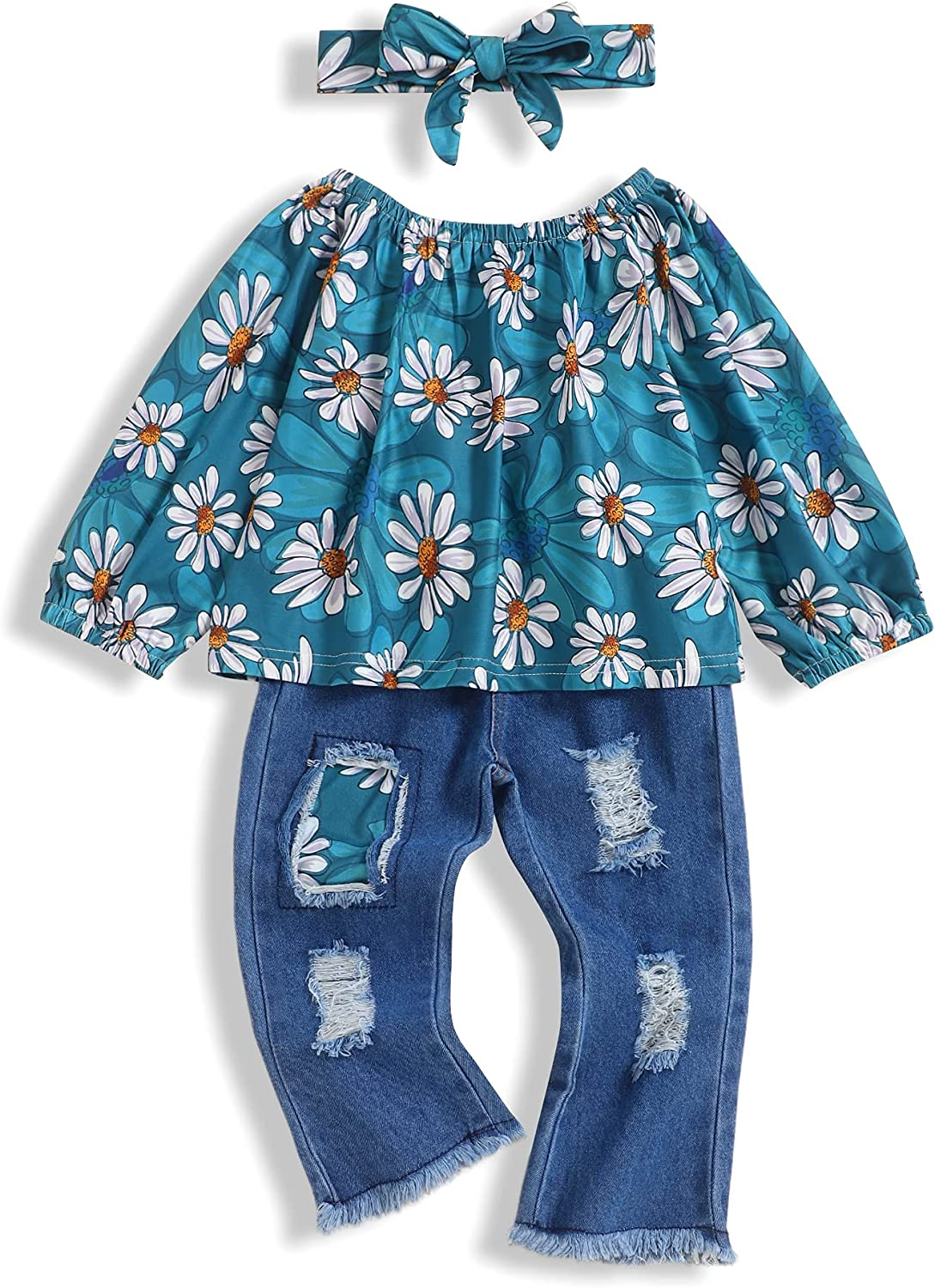 bilison Toddler Girl Clothes Floral Long Sleeve Tops and Ripped Flare Pants Little Girl Winter Outfits Sets