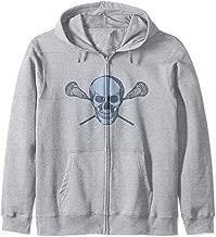 Lacrosse Graphic - Vintage Blue Skull Crossbones Lax Sticks  Zip Hoodie