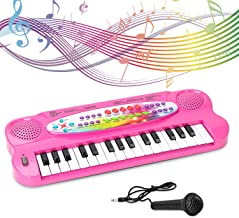SAOCOOL Toddler Piano for Kids, 32 Keys Multifunction Electronic Kids Keyboard Piano Music piano keyboard for kids with Microphone (Pink)