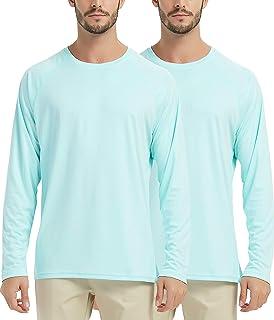 SERHOM Men's Long Sleeve UPF 50+ UV Sun Protection Outdoor T-Shirt (Pack of 2) Rashguard for Running, Fishing, Hiking
