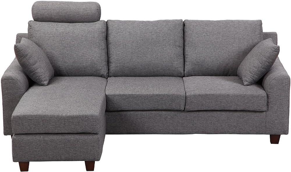 Homcom divano a 3 posti con poggiapiedi e cuscini in tessuto di lino,194 x 80 x 86cm IT833-2880631