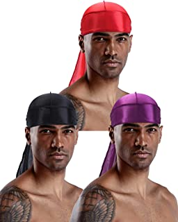 YI HENG MEI Men 2PCS/3PCS Stretchable Silky Durag Hair Loss Turban Hip Hop Bandana