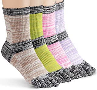 Women's Toe socks For Running Five Finger Socks With Cotton Athletic 4 Pack