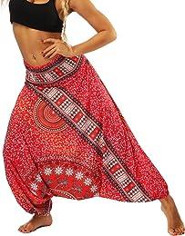 Nuofengkudu Femme Sarouel Pantalons Bouffants Ethn