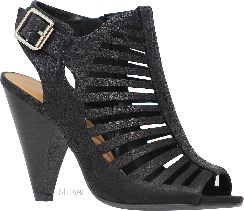 MVE shoes Women's Chunky Heel Open Toe Back Zipper Heeled Sandal