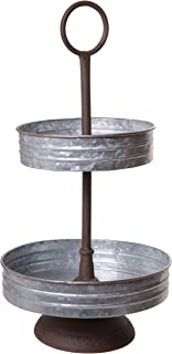 Vintage Barnyard Style Galvanized Metal Two Tier Annabeth Serving Tray Stand for Appetizers, Desserts, Cupcakes - Great for Weddings, Holidays, Birthday Parties, Home Decoration