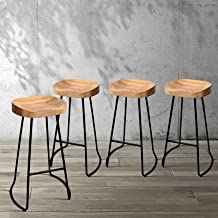 4 x Artiss Vintage Industrial Bar Stool, Retro Metal Counter Bar Chair, Wooden Kitchen Dining Stool, Natural