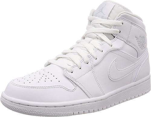 Jordan Air 1 Mid, Baskets Homme, Blanc (White/Pure Platinum-White ...