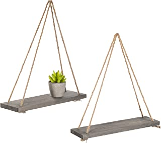 MyGift 17-Inch Rustic Gray Wood Rope-Hanging Floating Shelves, Set of 2