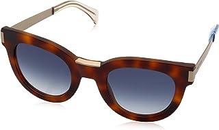 Tommy Hilfiger Women's Th1379s Rectangular Sunglasses, Havana Gold/Blue Gradient, 49 mm