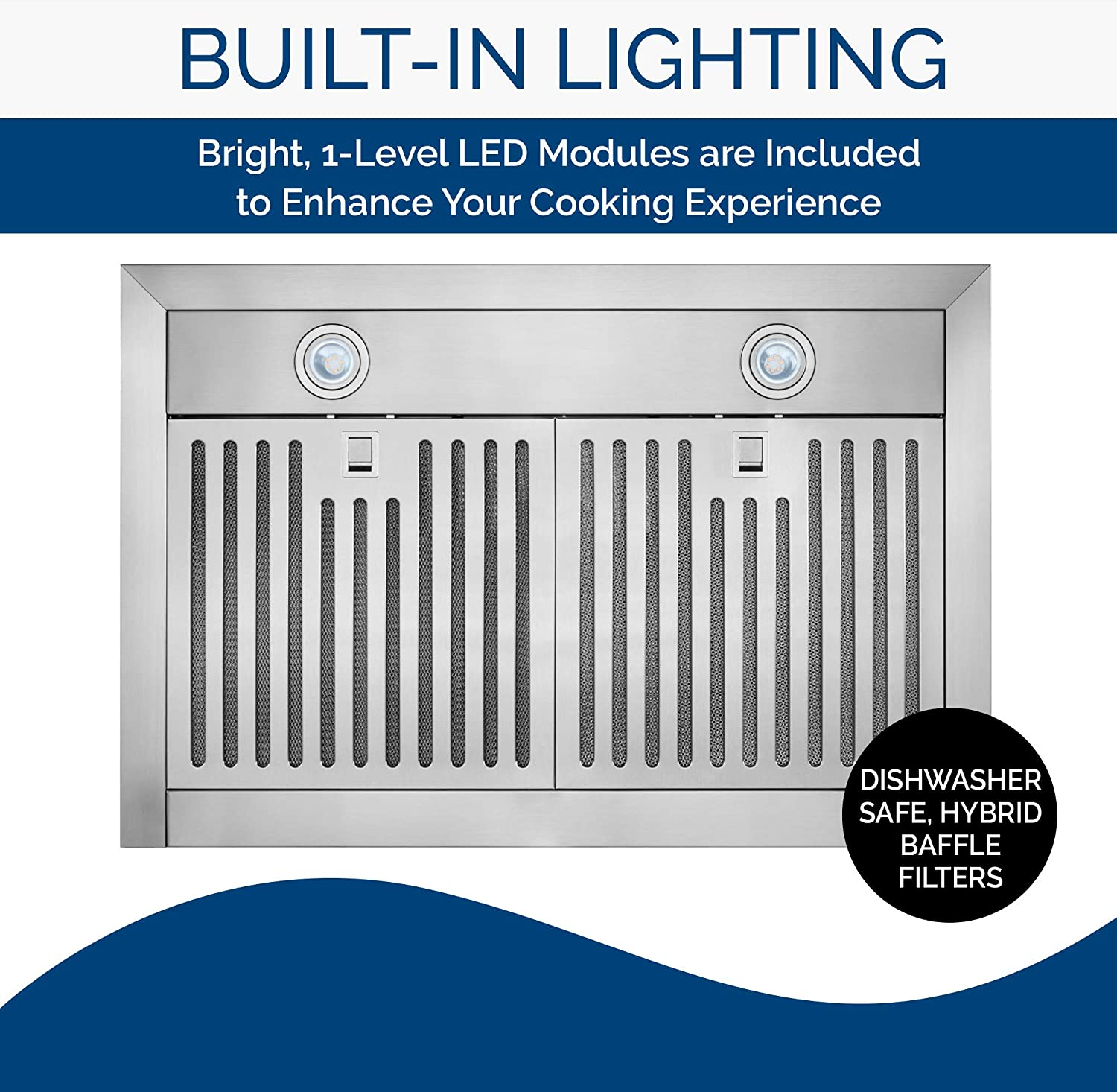 Stainless Steel Broan-NuTone BWT2304SS Convertible Wall-Mount LED Lights T-Style Chimney Range Hood