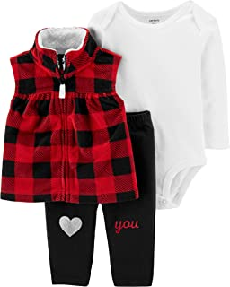 Carter's Baby Girls 3 Piece Little Vest Set (Red/Black)