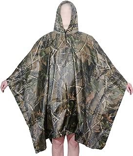 Aircee Camo Rain Poncho, Multi-use Rainwear, Military Reusable Raincoat for Hike Camp, Ground Sheet, Shelter, Tent